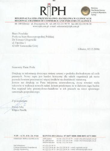 Podziękowanie Regionalnej Izby Przemysłowo-Handlowej w Gliwicach