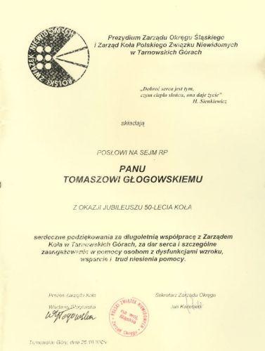 Podziękowanie Prezydium Zarządu Polskiego Związku Niewidomych