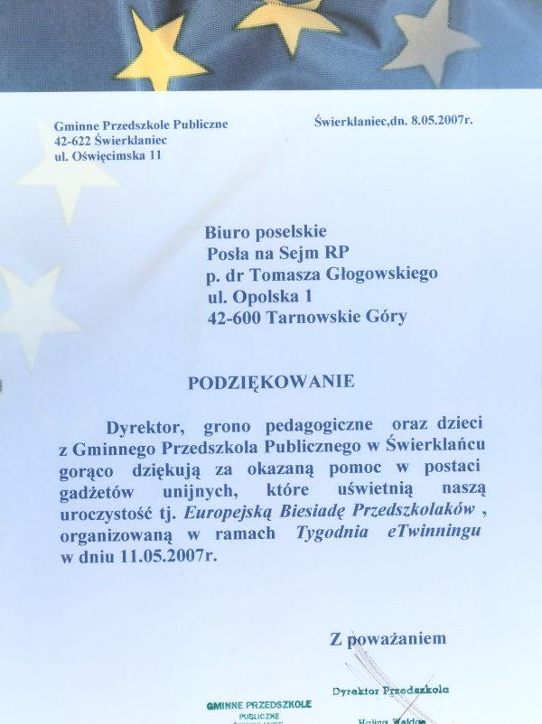 Podziękowanie Gminnego Przedszkola Publicznego w Świerklańcu