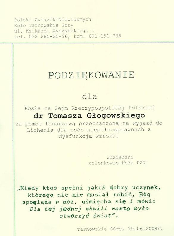 Podziękowanie Polskiego Związku Niewidomych