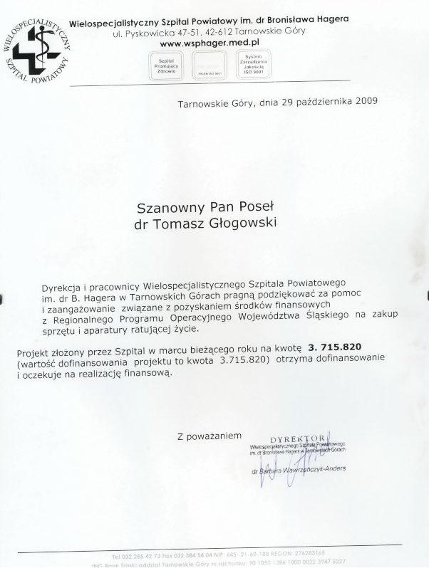 Podziękowanie WSP im. Hagera w Tarnowskich Górach