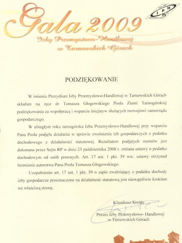 Podziękowanie Izby Przemysłowo Handlowej w Tarnowskich Górach